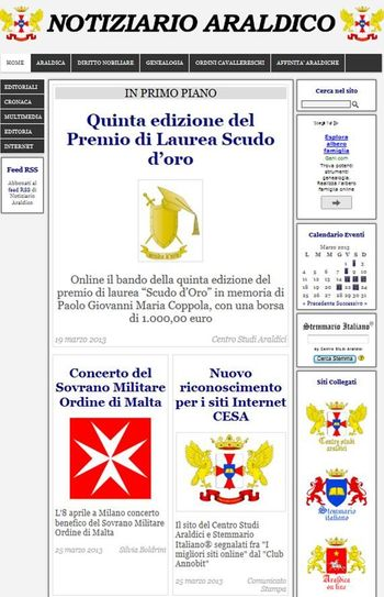 Home Page del quotidiano digitale Notiziario Araldico