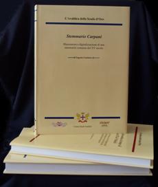 """I due volumi editi dal Centro Studi Araldici: """" Stemmario Carpani"""" (con i fregi della copertina in blu) e """"L'araldica ai tempi di Cosimi III de' Medici"""" (con i fregi della copertina in bordeaux)"""